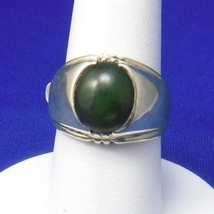 Green Jade Ring, Sterling Silver, 8